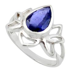 3.18cts natural blue iolite 925 sterling silver ring jewelry size 8.5 r45719