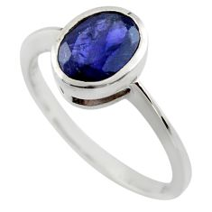 2.11cts natural blue iolite 925 sterling silver ring jewelry size 6.5 r45798