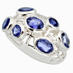 5.95cts natural blue iolite 925 sterling silver ring jewelry size 6 r25718