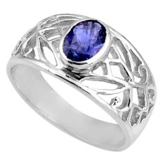 1.74cts natural blue iolite 925 sterling silver solitaire ring size 6.5 d39021