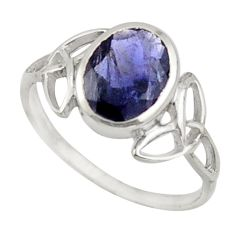 2.49cts natural blue iolite 925 sterling silver solitaire ring size 6.5 d47489