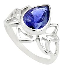 2.61cts natural blue iolite 925 sterling silver solitaire ring size 7.5 r25336