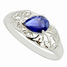 1.45cts natural blue iolite 925 sterling silver solitaire ring size 5.5 r25680