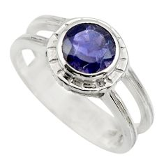 2.43cts natural blue iolite 925 sterling silver solitaire ring size 8.5 r25816