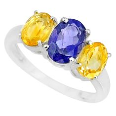 5.15cts natural blue iolite citrine 925 sterling silver ring size 8 r84065