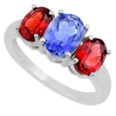 5.46cts natural blue iolite garnet 925 sterling silver ring size 8 r71267