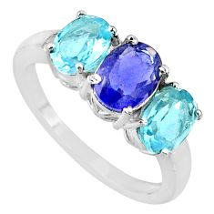 5.22cts natural blue iolite topaz 925 sterling silver ring jewelry size 8 r71264