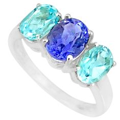 5.36cts natural blue iolite topaz 925 sterling silver ring size 7.5 r84069