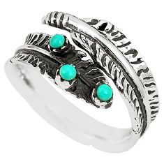 Natural blue kingman turquoise 925 silver adjustable ring size 7.5 c10381