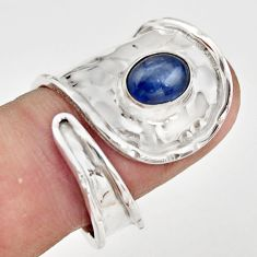 2.01cts natural blue kyanite 925 silver adjustable solitaire ring size 7 r21254