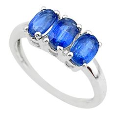 2.73cts natural blue kyanite 925 sterling silver 3 stone ring size 6 t14791