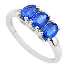2.89cts natural blue kyanite 925 sterling silver 3 stone ring size 8 t14798