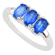 3.18cts natural blue kyanite 925 sterling silver 3 stone ring size 9 t14797
