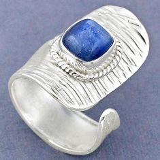 3.19cts natural blue kyanite 925 sterling silver adjustable ring size 6.5 r63273