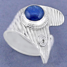 3.36cts natural blue kyanite 925 sterling silver adjustable ring size 8.5 r63449