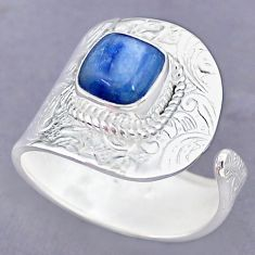 3.49cts natural blue kyanite 925 sterling silver adjustable ring size 9.5 r90553
