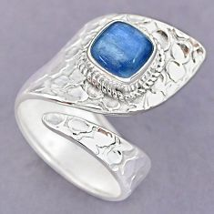 3.17cts natural blue kyanite 925 sterling silver adjustable ring size 8.5 r90613