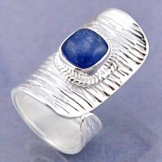 3.29cts natural blue kyanite 925 sterling silver adjustable ring size 5 r54778