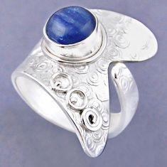 3.35cts natural blue kyanite 925 sterling silver adjustable ring size 7 r54854