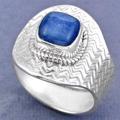 3.01cts natural blue kyanite 925 sterling silver adjustable ring size 8 r63289