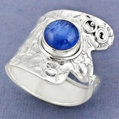 3.36cts natural blue kyanite 925 sterling silver adjustable ring size 8 r63437
