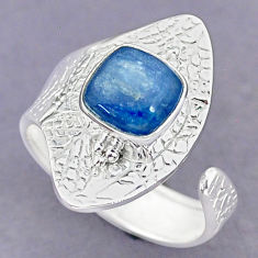 3.46cts natural blue kyanite 925 sterling silver adjustable ring size 8 r90656