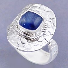 3.28cts natural blue kyanite 925 sterling silver adjustable ring size 9 r54751