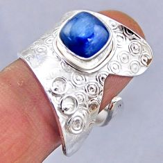 3.35cts natural blue kyanite 925 sterling silver adjustable ring size 9 r54858