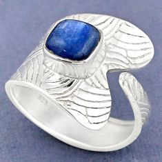 3.36cts natural blue kyanite 925 sterling silver adjustable ring size 9 r63350