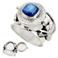 3.31cts natural blue kyanite 925 sterling silver poison box ring size 8.5 r26676
