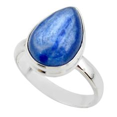 6.58cts natural blue kyanite 925 sterling silver ring jewelry size 7.5 r46726