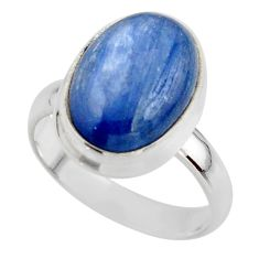 6.34cts natural blue kyanite 925 sterling silver ring jewelry size 6.5 r46727