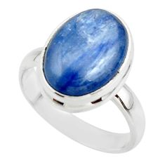 6.15cts natural blue kyanite 925 sterling silver ring jewelry size 6.5 r46733