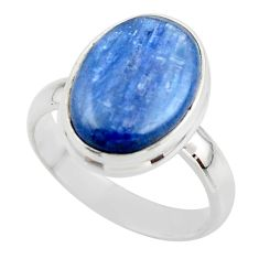 6.70cts natural blue kyanite 925 sterling silver ring jewelry size 6.5 r46736