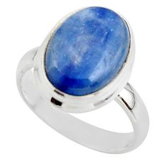6.27cts natural blue kyanite 925 sterling silver ring jewelry size 6.5 r46739