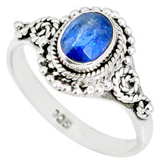 1.48cts natural blue kyanite 925 sterling silver handmade ring size 5.5 r82246