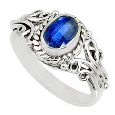 1.46cts natural blue kyanite 925 sterling silver ring jewelry size 6.5 r82405