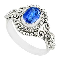 1.46cts natural blue kyanite 925 sterling silver handmade ring size 5.5 r82420