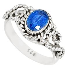1.47cts natural blue kyanite 925 sterling silver handmade ring size 5 r82242