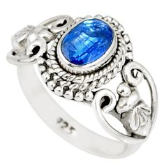 1.53cts natural blue kyanite 925 sterling silver handmade ring size 5 r82259