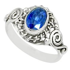 1.52cts natural blue kyanite 925 sterling silver ring jewelry size 5 r82408