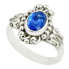 1.44cts natural blue kyanite 925 sterling silver handmade ring size 5 r82414