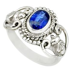 1.42cts natural blue kyanite 925 sterling silver handmade ring size 5 r82416