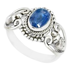 1.52cts natural blue kyanite 925 sterling silver handmade ring size 5 r82417