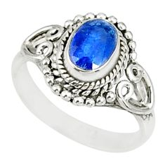 1.55cts natural blue kyanite 925 sterling silver handmade ring size 5 r82418
