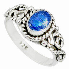 1.48cts natural blue kyanite 925 sterling silver handmade ring size 6 r82250