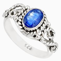 1.48cts natural blue kyanite 925 sterling silver handmade ring size 6 r82258