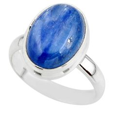 6.30cts natural blue kyanite 925 sterling silver ring jewelry size 7 r46771
