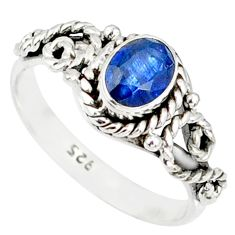 1.56cts natural blue kyanite 925 sterling silver handmade ring size 7 r82245