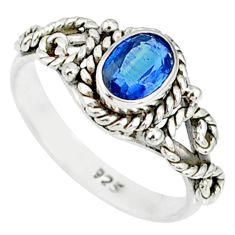 1.57cts natural blue kyanite 925 sterling silver handmade ring size 7 r82248
